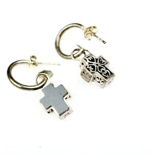 925 Silver Cross Earrings